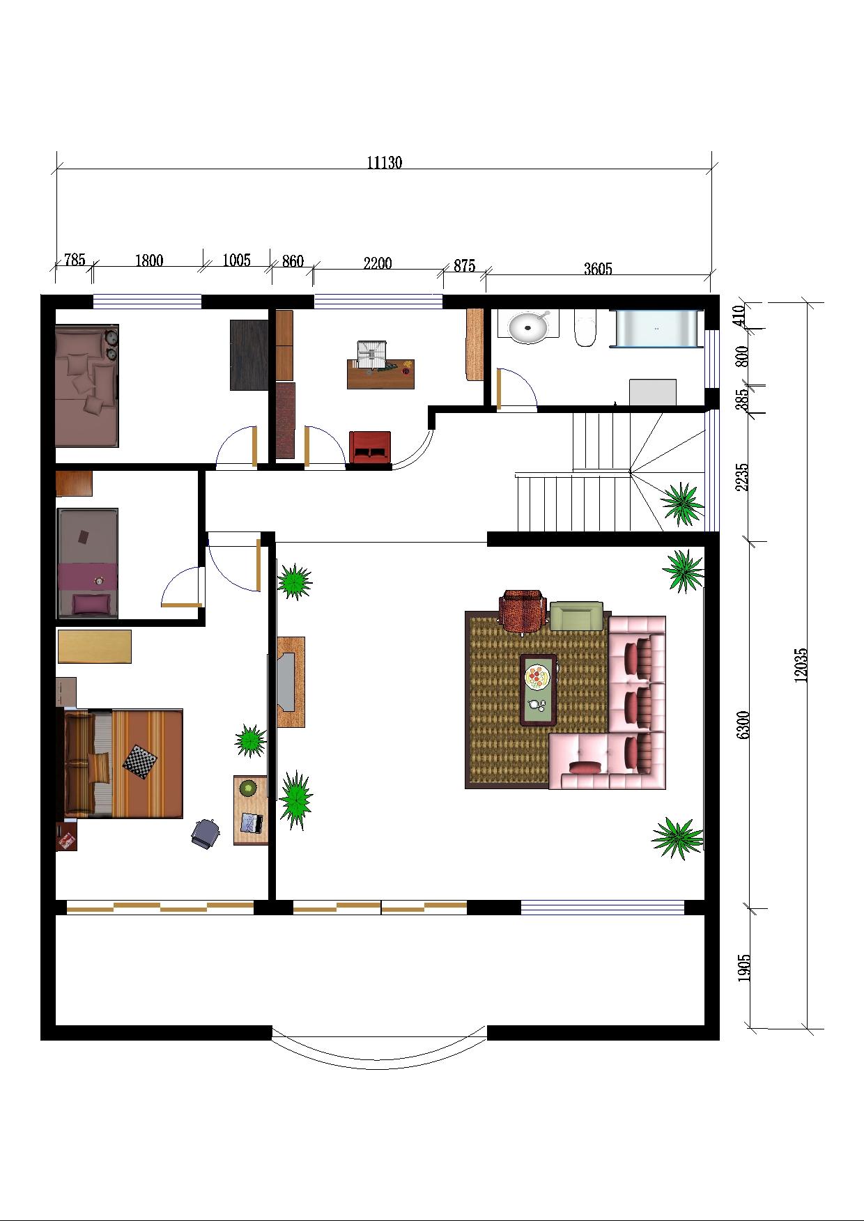 设计图/1.二楼平面图2.二楼总体装修三维立体图 3.三楼客厅三维立体图 4....