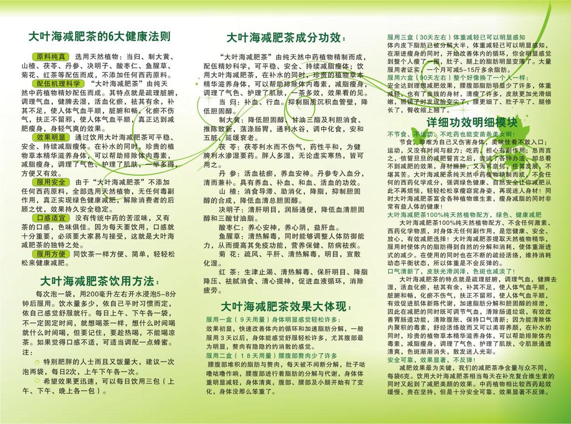 大叶海减肥茶宣传页(三折页,海报)