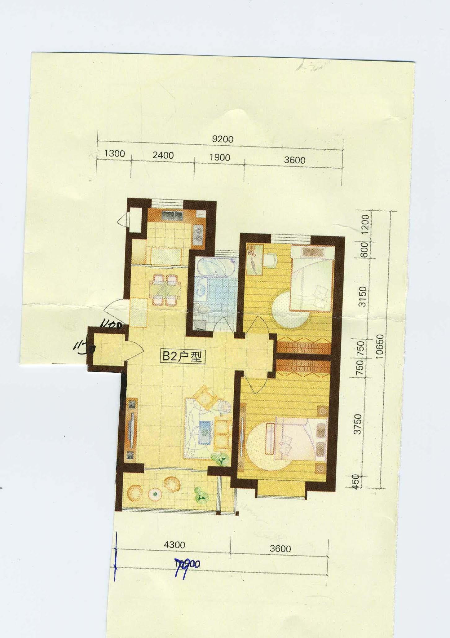 96平两室两厅一卫装修图设计 高清图片