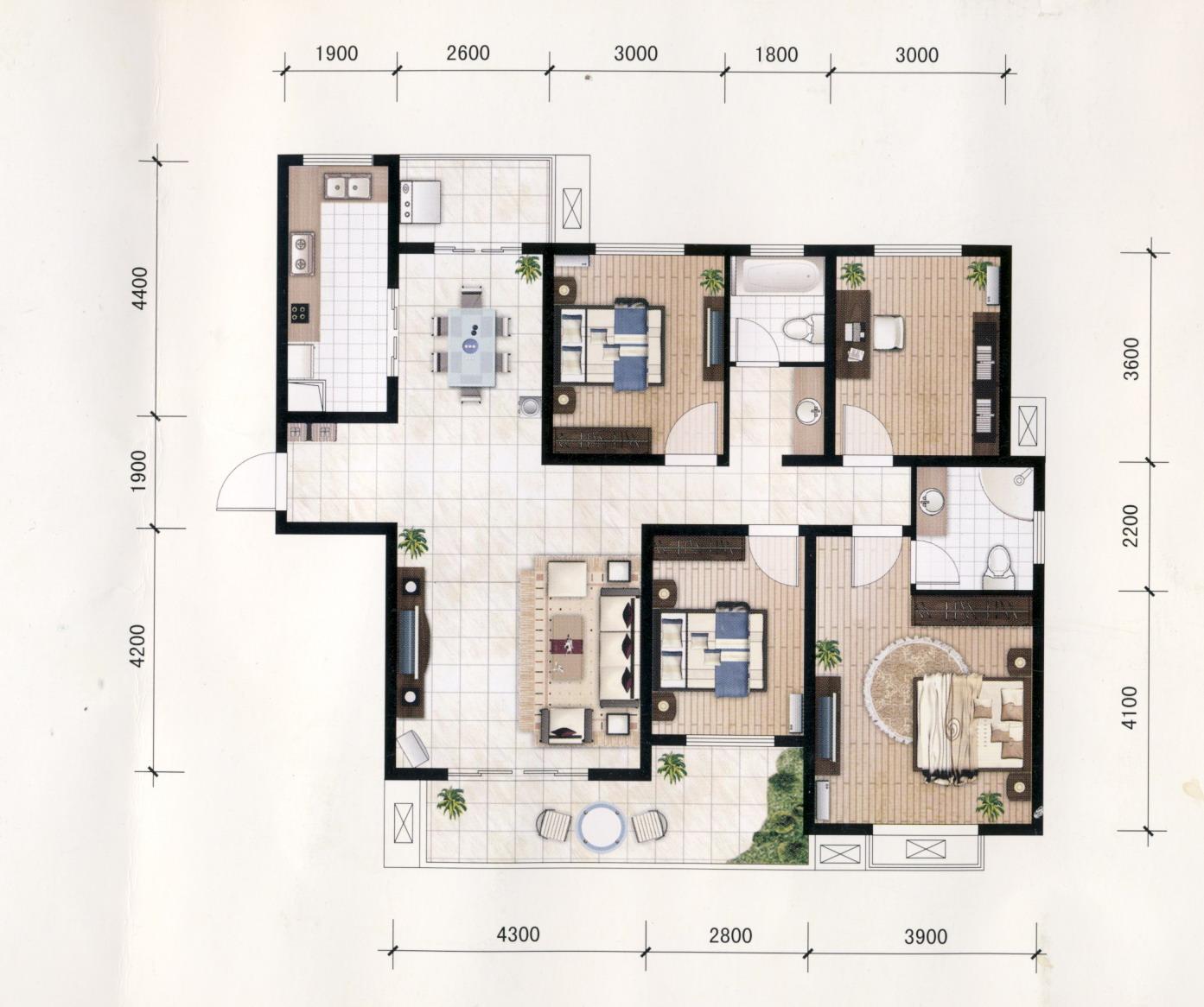 120平米房子装修设计图四室两厅